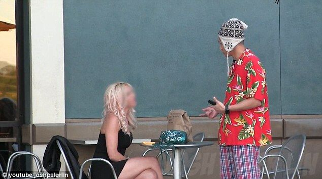 'Gold-digger': Asian Prankster Josh Palergold Lin, dressed in a Hawaiian shirt, lounge pants and a hat approaches a young woman sitting alone outside a cafe but she rejects him saying she has a boyfriend