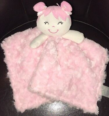 Details about Baby Gear Pink Girl Doll Pigtails Security Blanket Soft Plush Lovey Satin Swirl #securityblankets