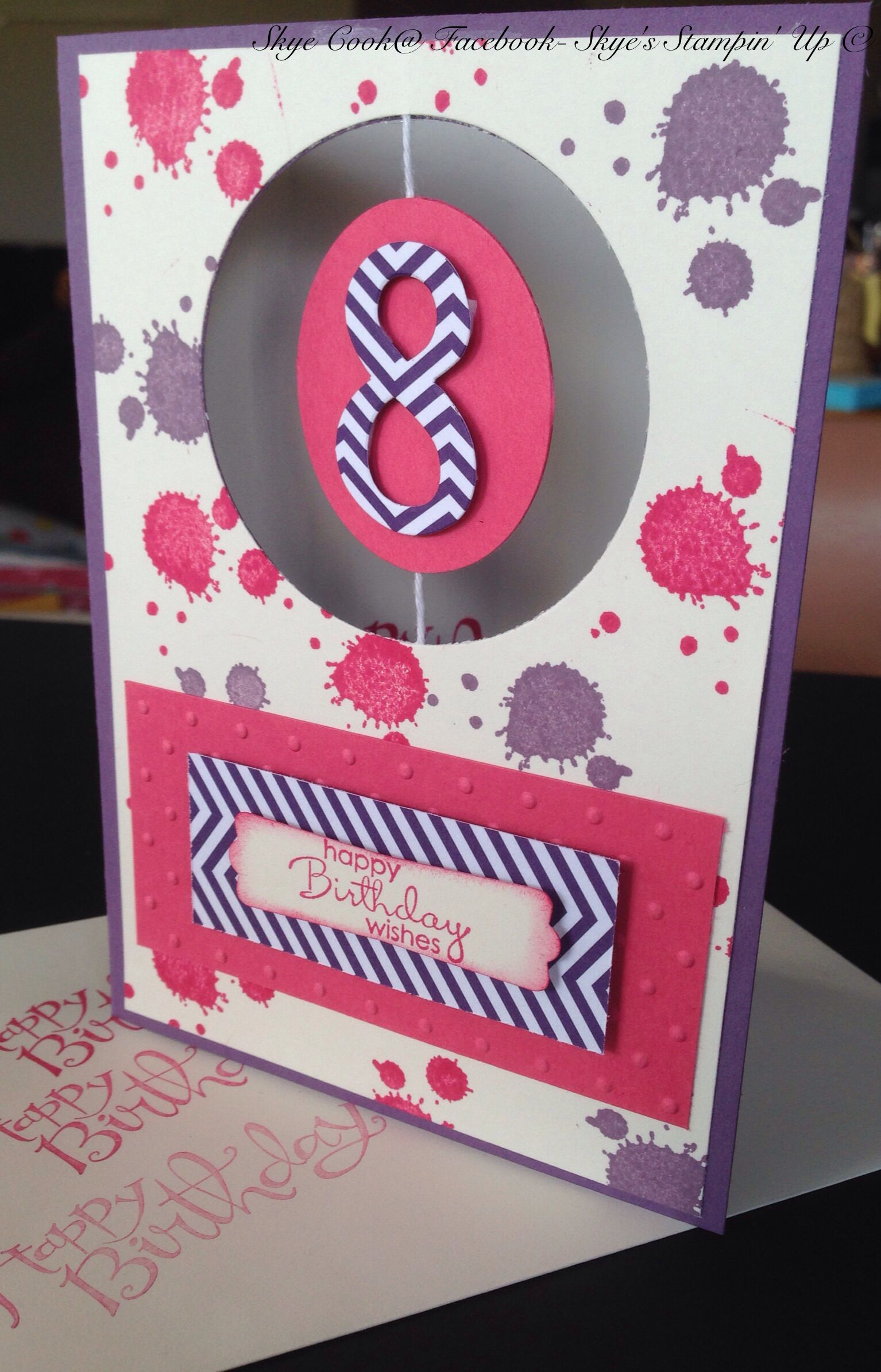 Stampin up birthday card with a spinning in the middle for