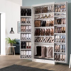 Photo of The shoe cabinet 230 x 100 cm in platinum white offers space for up to 75 pairs of …
