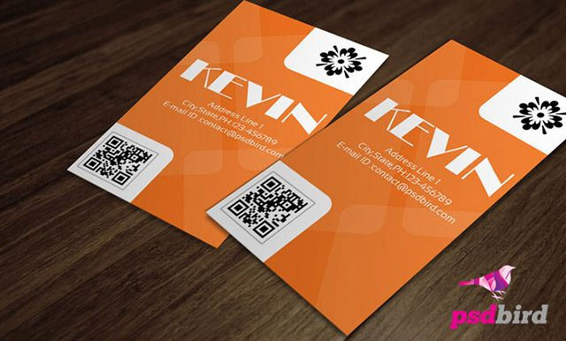 clean and simple business card psd template with qr code available