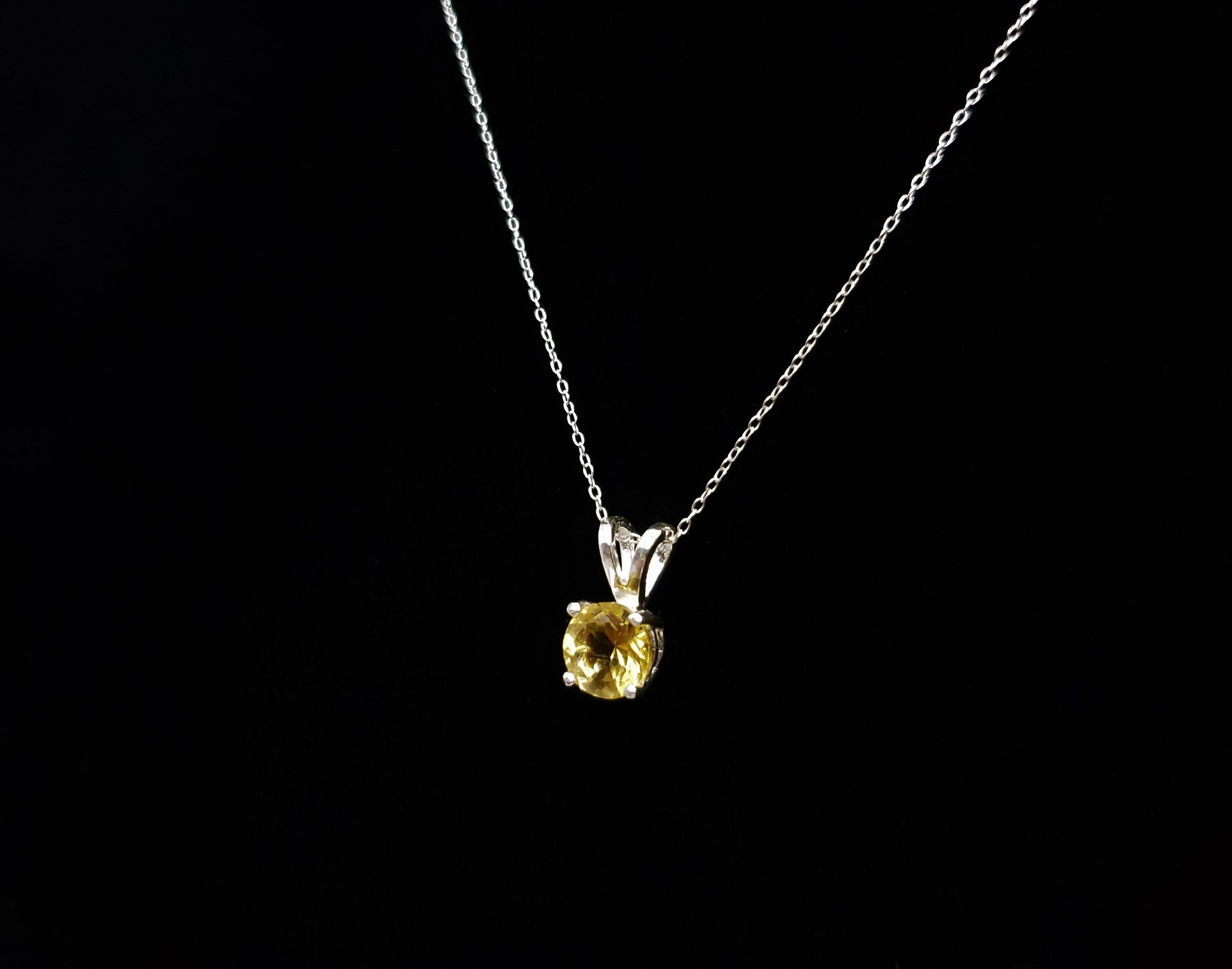 Citrine Pendant Necklace Yellow Gemstone Jewelry Sterling Silver Chain  8mm Round Citrine Cabochon