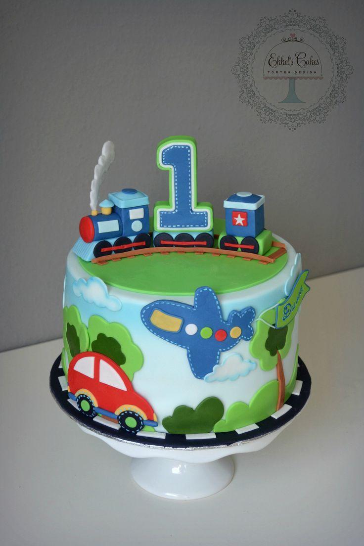 1thbirthday Babyboy 1th Autos Cars Zug Flugzeug Lokomotive Plane Torte Kindergeburtstag Junge Kuchen Kindergeburtstag Geburtstag Torte Junge