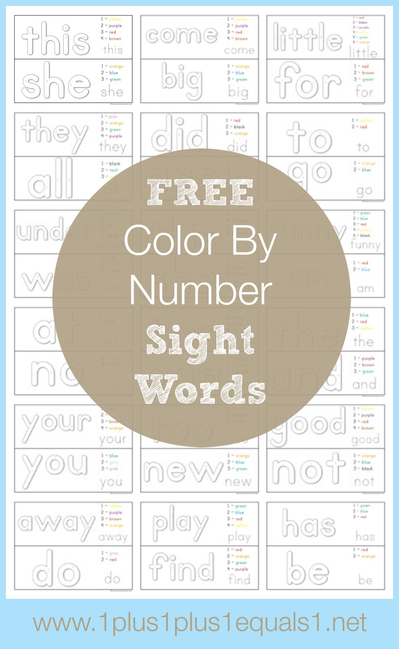 Color By Number Sight Words