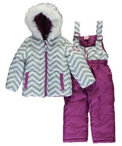 "3cef60ce2 U.S. Polo Assn. Baby Girls' ""Chevron Contrast"" 2-Piece Snowsuit -  CookiesKids.com"