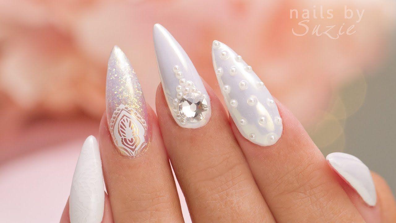 White On White 5 Nail Art Designs Youtube Wedding Pinterest