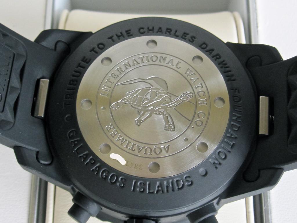 IWC Aquatimer Chronograph Galapagos  Edición Limitada en honor a la fundación Darwin  Referencia: IW376705 Calibre 79320  Caja de acero Pulsera de goma negra Movimiento mecánico 44 hs de poder de marcha Pequeño segundero Bisel giratorio externo Agujas y marcas luminosas Cristal de zafiro antirreflejo 44 mm de diámetro Dial negro 25 joyas
