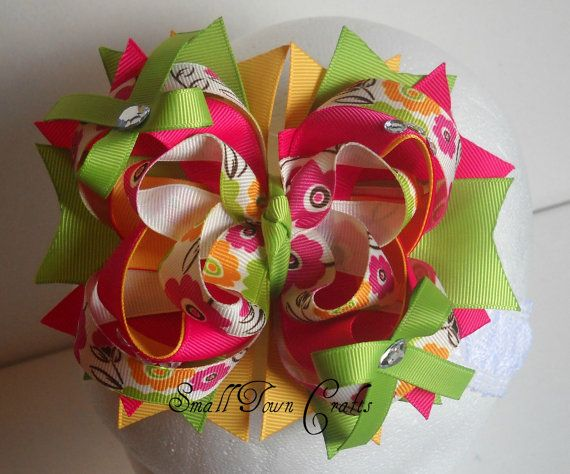 Spring Flowers Boutique Bow In Pink Green By Smalltowncraftsbtq
