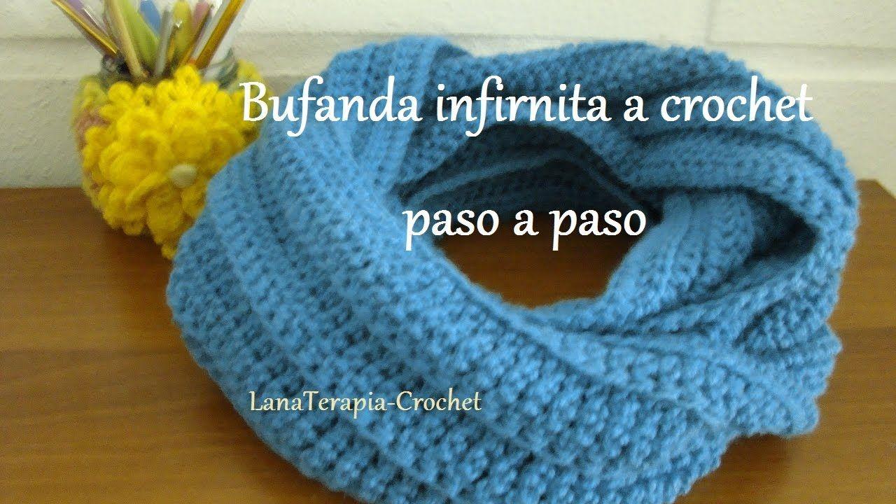 Bufanda infinita a crochet, con punto alto en relieve / LanaTerapia ...