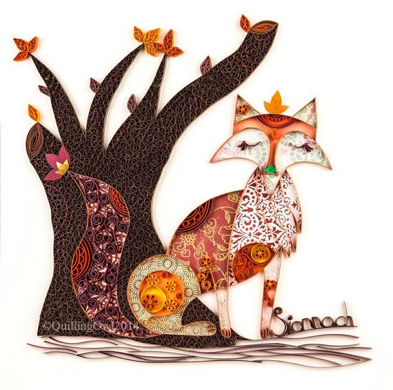 18. Fine art GICLEE print ,Rusty the Sionnach, Paper Illustration of a Fox - Fine Paper Art, Quilling Art