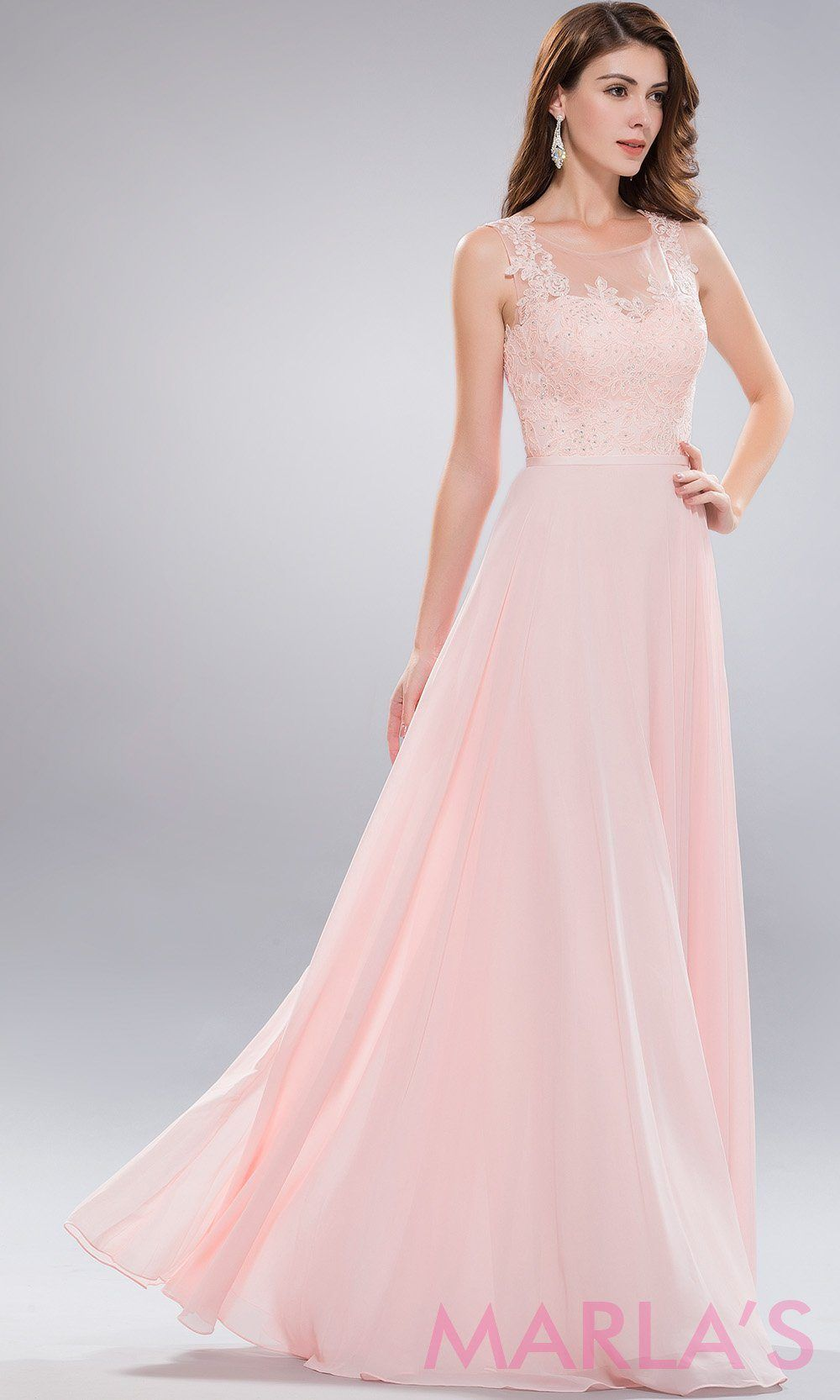 4fb4d080360 Advertisement  Long blush pink high neck dress with lace bodice and flowy  chiffon skirt. This is