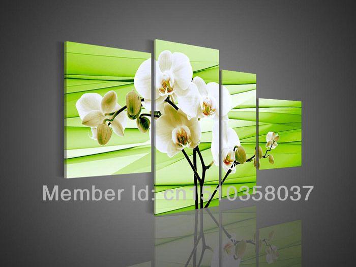 Handmade  Hi-Q wall art home decor realistic flower oil painting on canvas White Magnolia flower on light green 4pcs/set frames