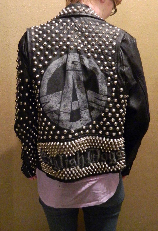 Leather jacket punk - Vintage Style Punk Studded Leather Jacket