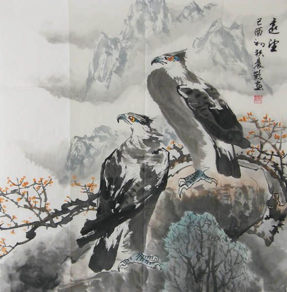 Eagle Artist Zhenke Zhao Pen Name Chenhe 1956 Born In
