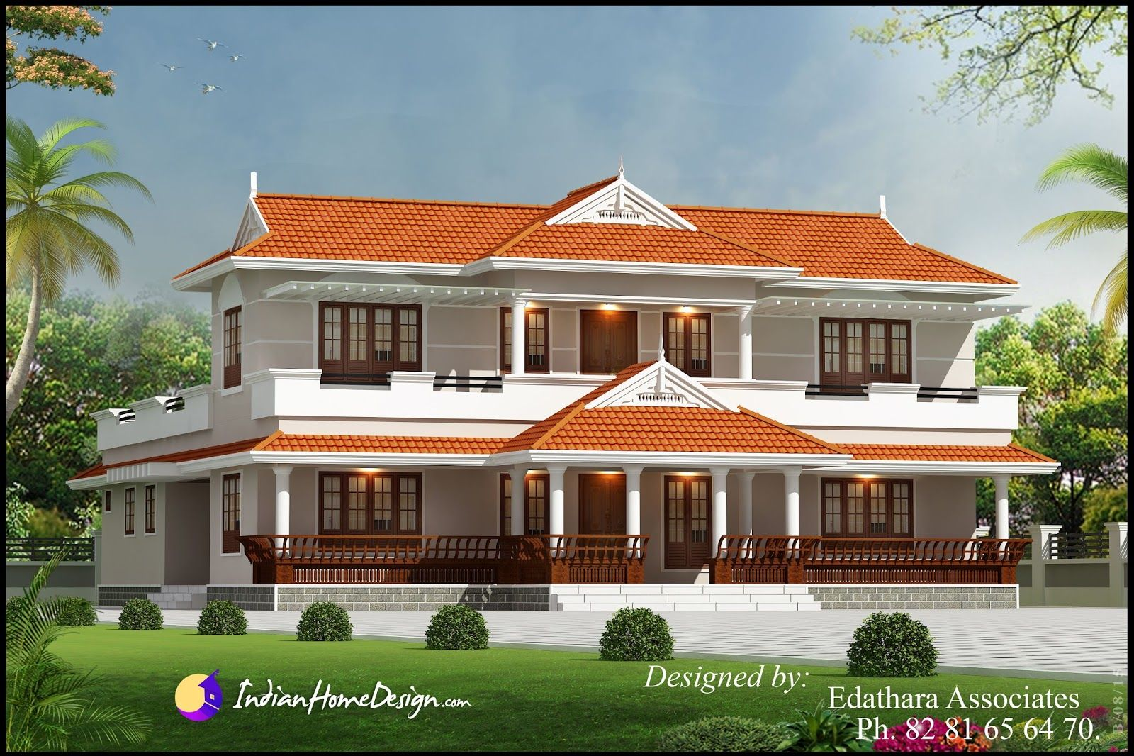 Kerala Style 2288 Sqft Villa Design Traditional Double Floor Kerala Home Design Indian Craftsman Style House Plans Village House Design House Balcony Design