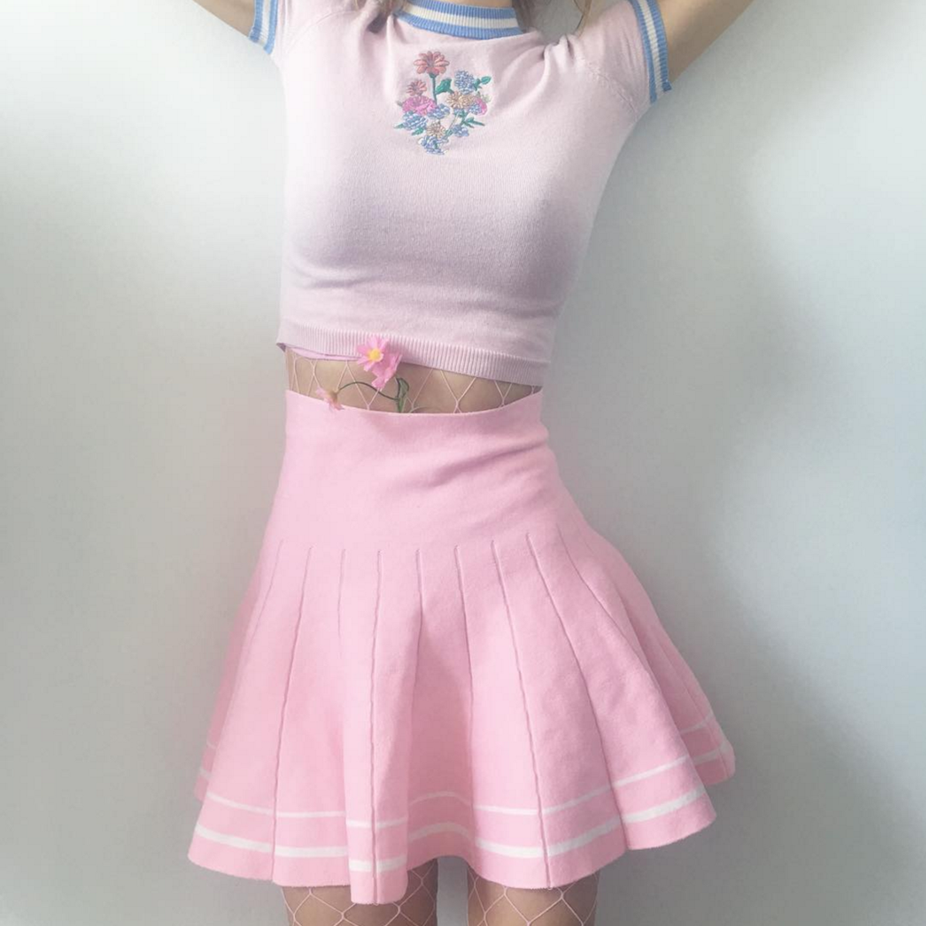 Kawaii Baby Pink Tumblr High Waisted Skirt Blusas Pinterest