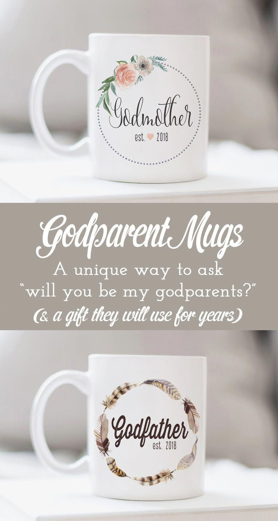 These godparent mugs make a unique godparent proposal or