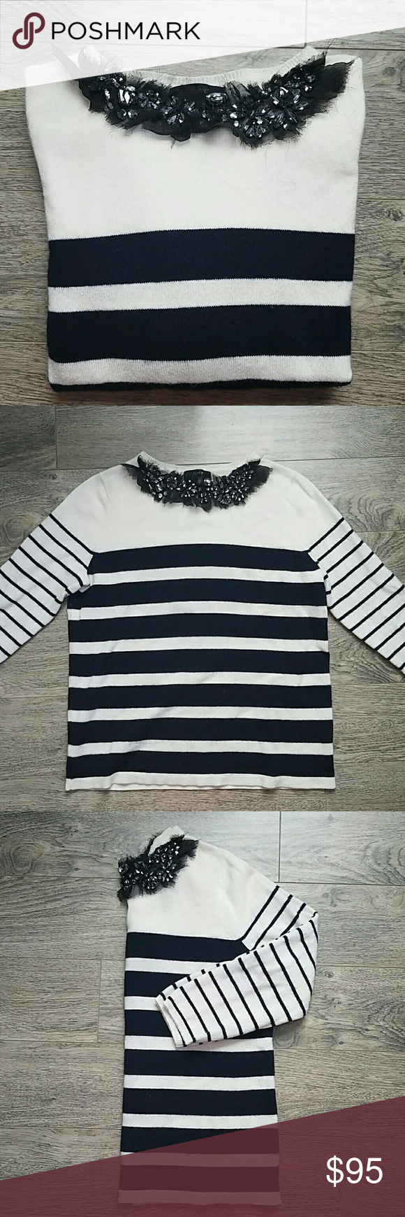 Jcrew cashmere sweater Striped and jeweled collar, great condition jcrew Sweaters Crew & Scoop Necks