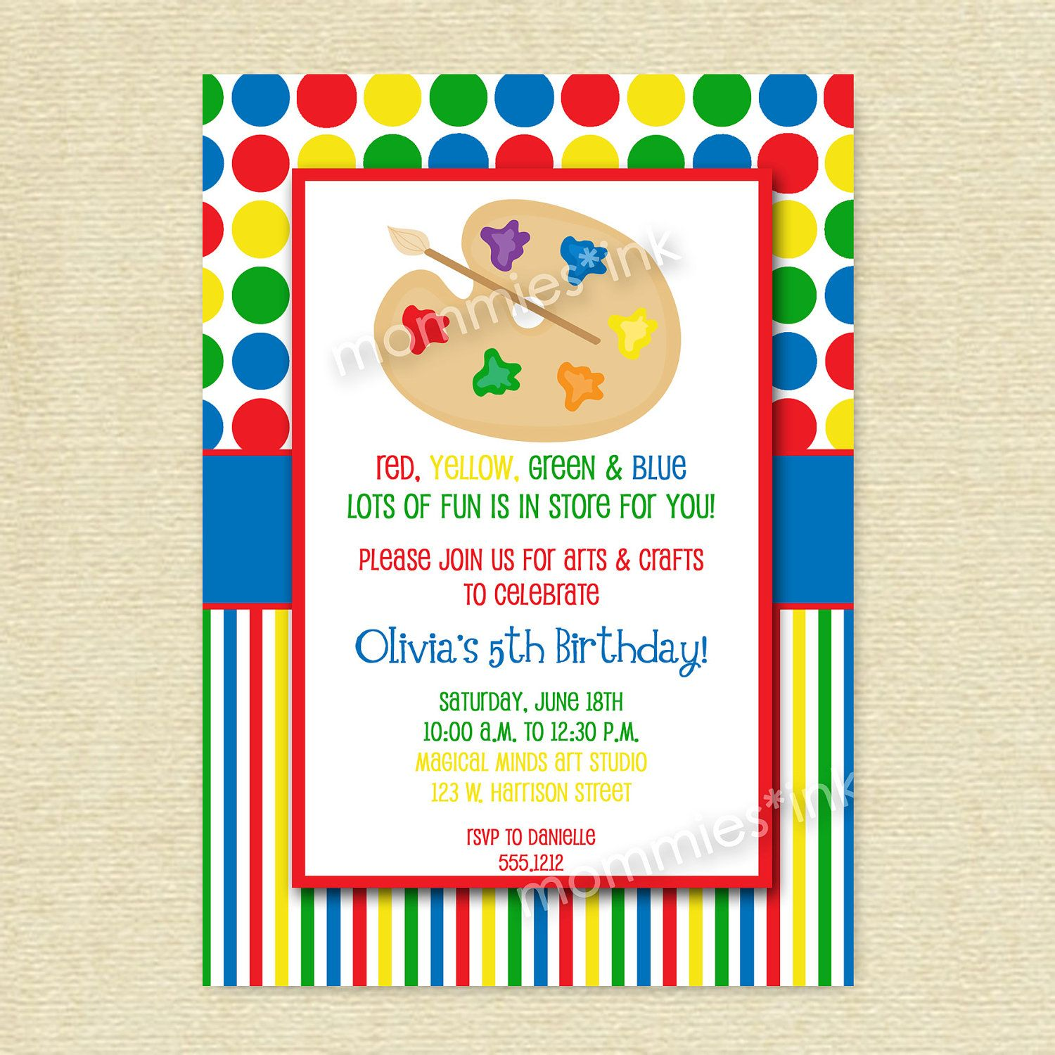 Arts and Crafts Birthday Party Invitation, Art Party, Crafts Party ...