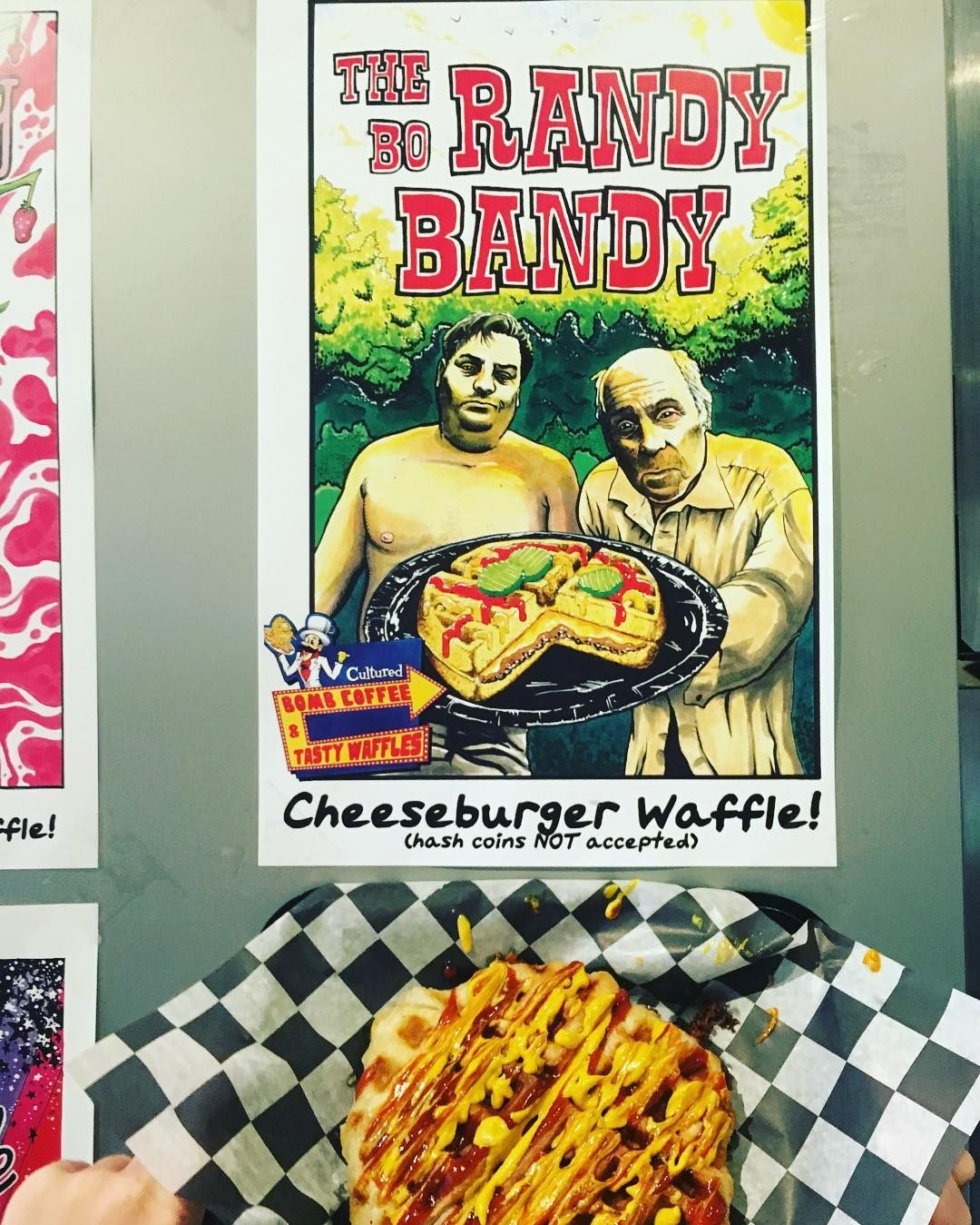 CHEESEBURGER WAFFLE IS HERE! Come try the new addition to the menu. #randybobandy #cheeseburgerwaffle #waffleparkboys