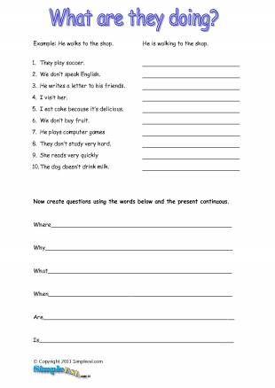 Present Continuous Worksheets Pdf Worksheets Pinterest
