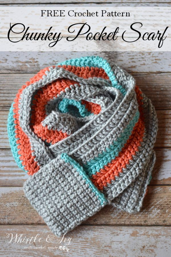 Crocheted Pocket Scarf | Free pattern, Yarns and Scarves