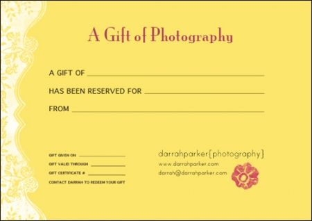 photo session gift certificate ideas