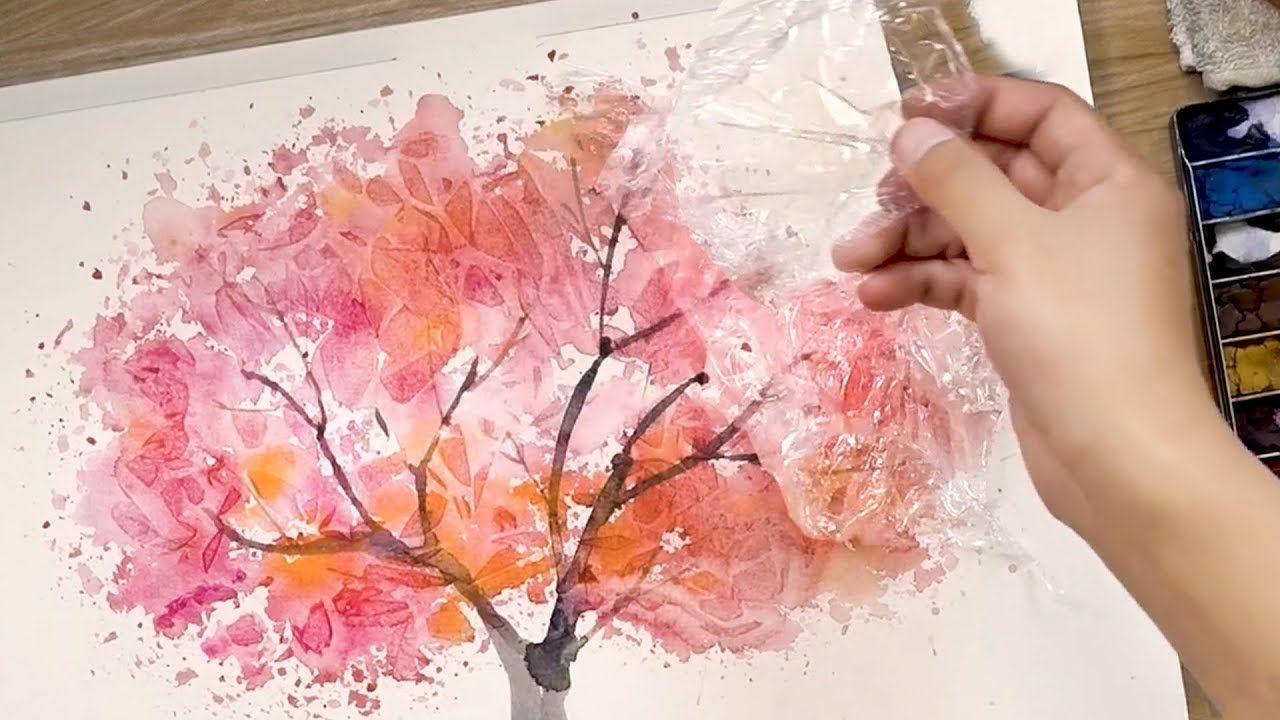 How to paint watercolors using cooking paper and cling