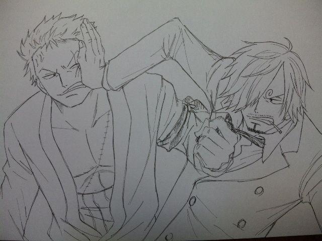 One Piece Lineart : One piece : roronoa zoro and sanji by ioshiklineart lineart: