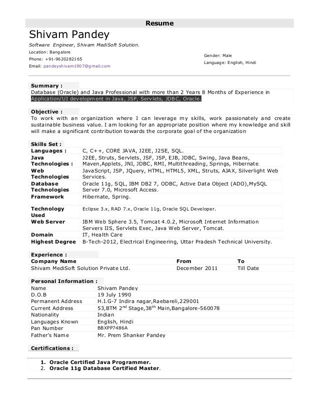 sample resume for 6 months experience in java