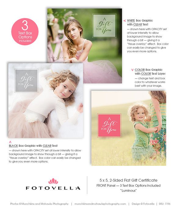 Photography Gift Certificate Template 5x5 Photoshop by FOTOVELLA - best of photographer gift certificate template