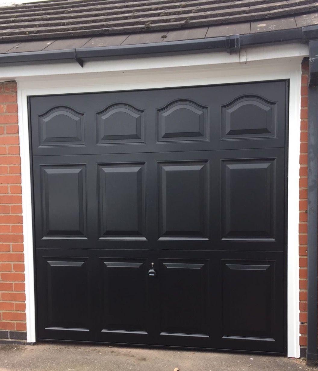 Garador Cathedral Jet Black Ral 9005 Sectional Garage Doors Garage Doors Garage Door Insulation
