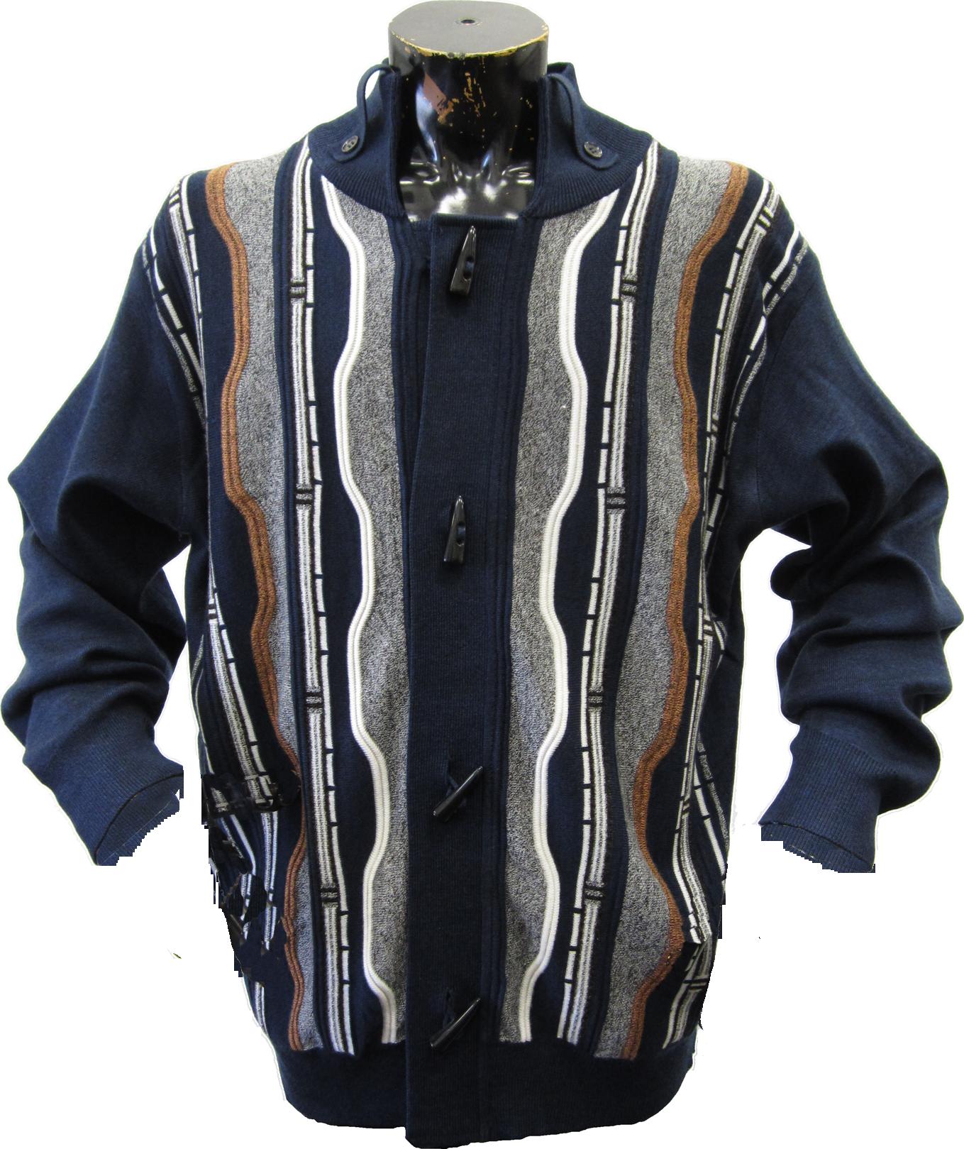 Silversilk Mens Fancy 5 Toggle Sweater Jacket Silversilk Mens
