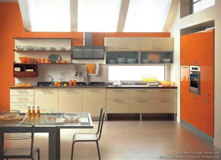 Orange And Cream Kitchen Idea Kitchen Design Modern Kitchen Stylish Kitchen