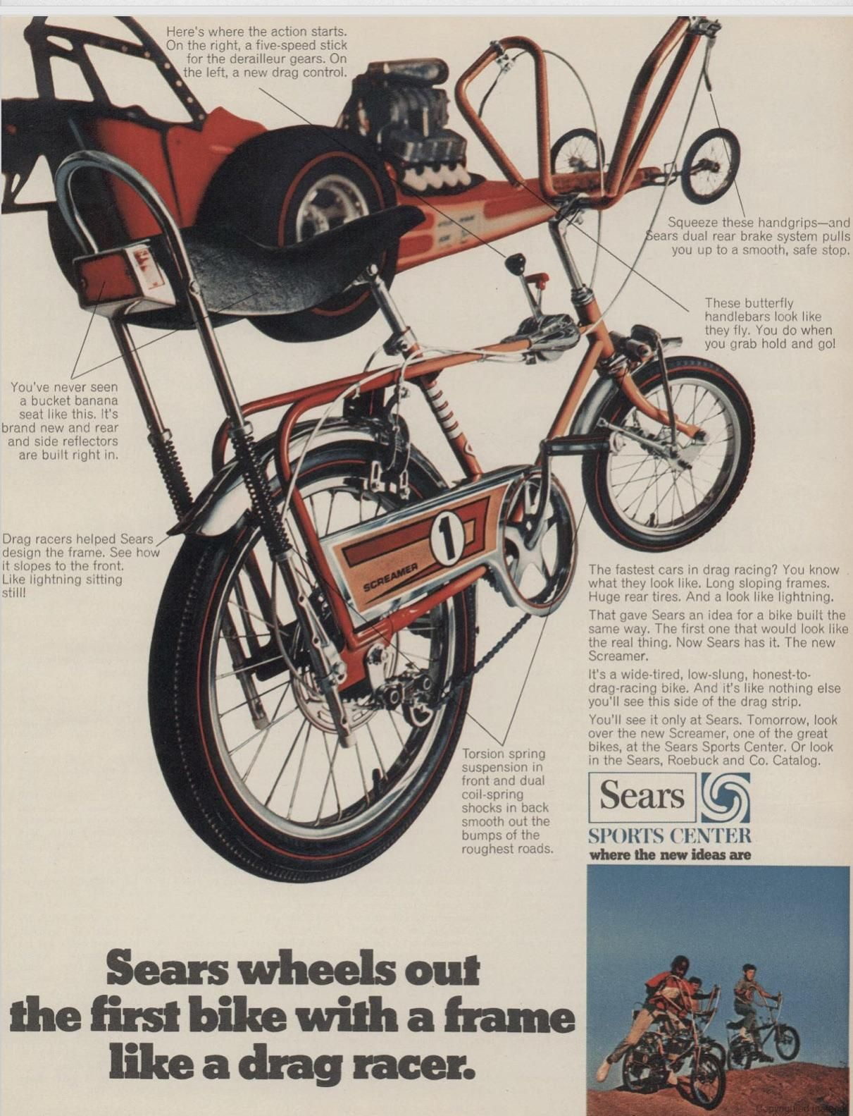 A Dragster Bike From Sears 1966 Vintageads Ads Vintage Printad Tvads Advertising Brandscience Influence Online Bicycle Vintage Bicycles Chopper Bike