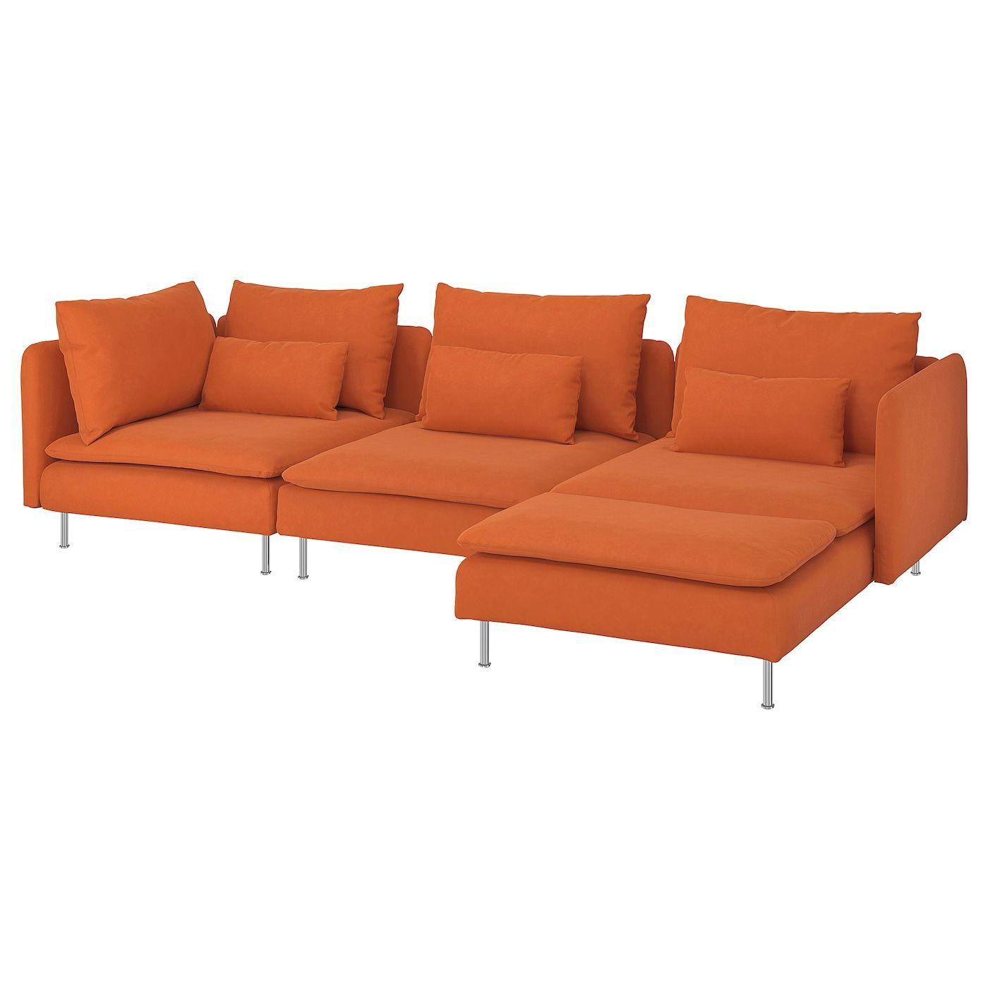 Soderhamn 4er Sofa Mit Recamiere Samsta Orange Ikea Osterreich In 2020 Ikea Chaise Ikea Armchair