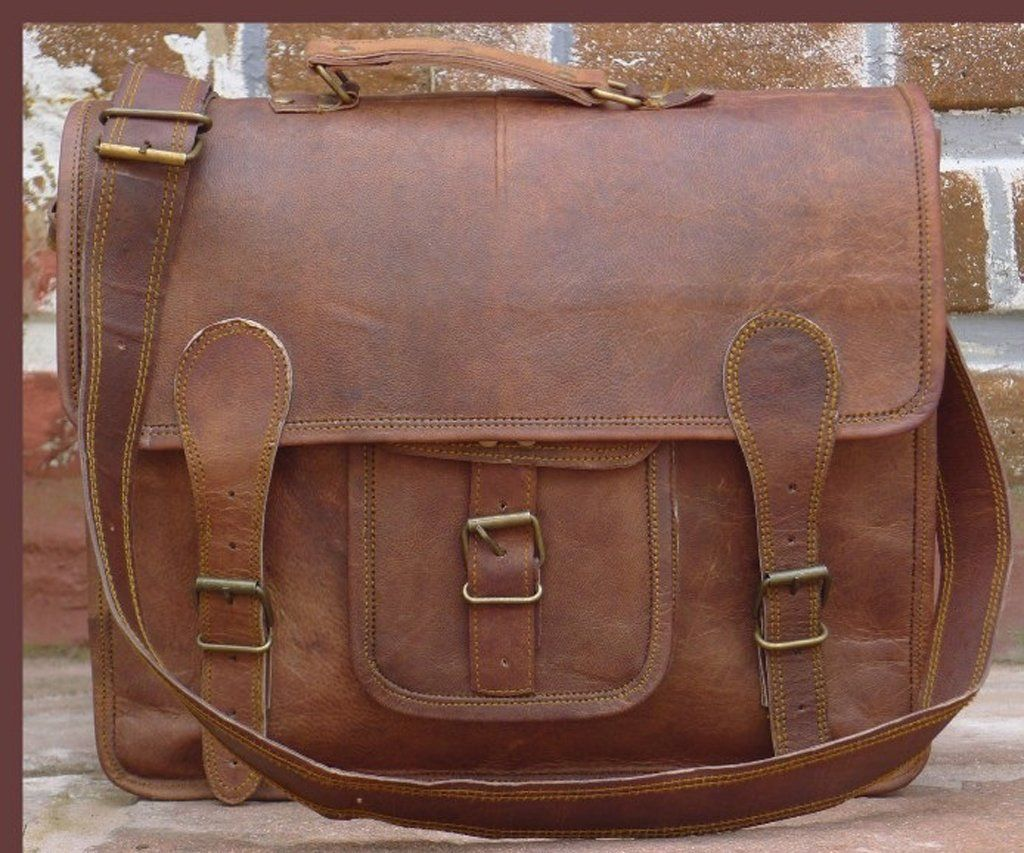 Distressed Leather Office Bag Shoulder Macbook By