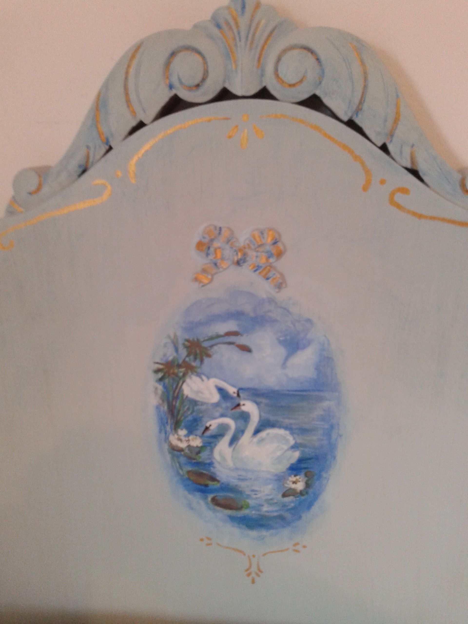I Decorated An Old Headboard Hand Painted Swan Lake Matching