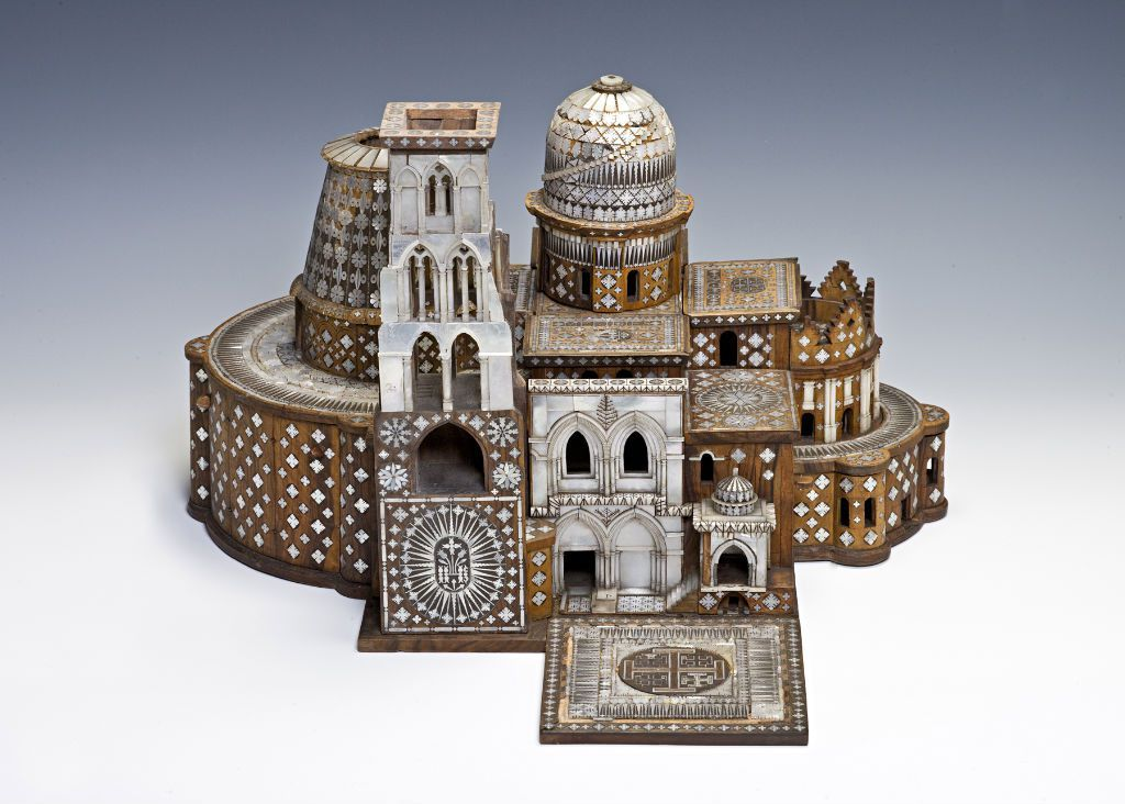 "A superb model of the church, incorporating mother-of-pearl, in a very fine glazed mahogany case, 53.3cm wide. 1763 Inventory: ""the Jewel closet.....Model in Mosaic of ye Temple of Christ Sepulchre..."