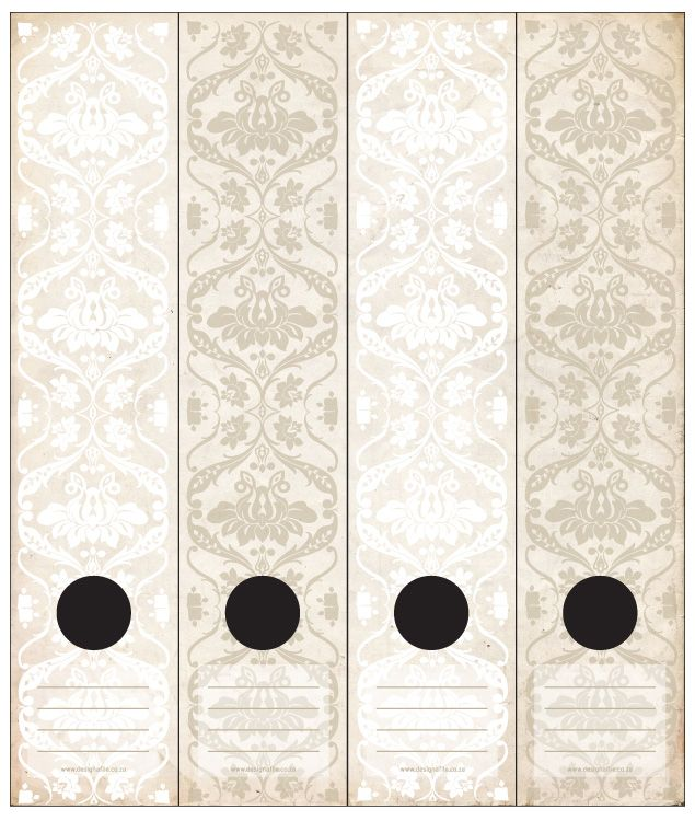antique wallpaper inspired lever arch labels in white
