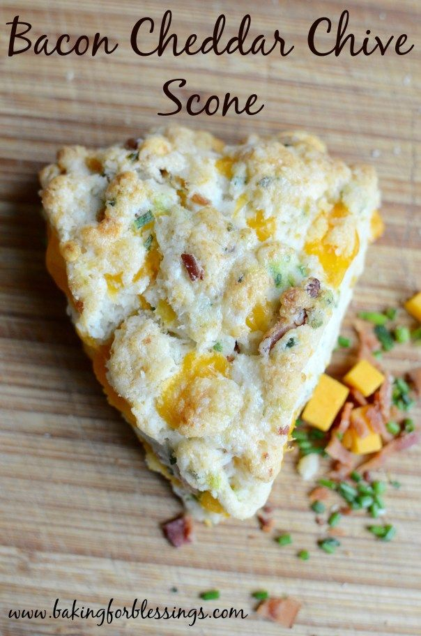 Bacon Cheddar Chive scones are a wonderful, fluffy savory scones that are perfect for breakfast, brunch, or an afternoon snack. Featured on #OMHGWW