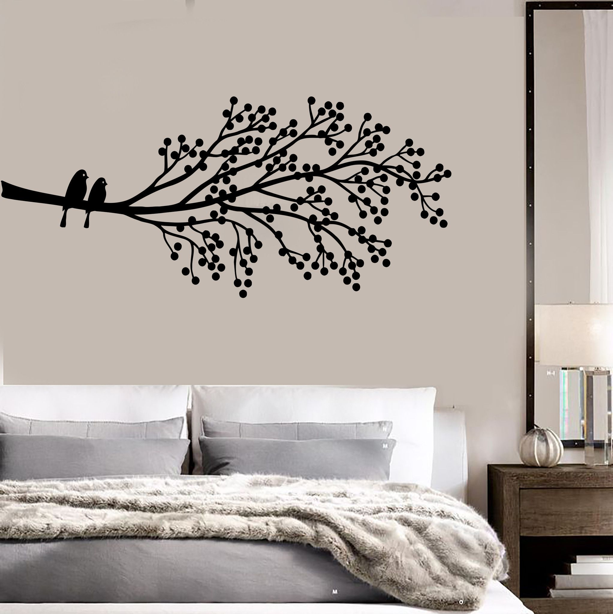 Vinyl wall decal tree branch birds nature house interior bedroom