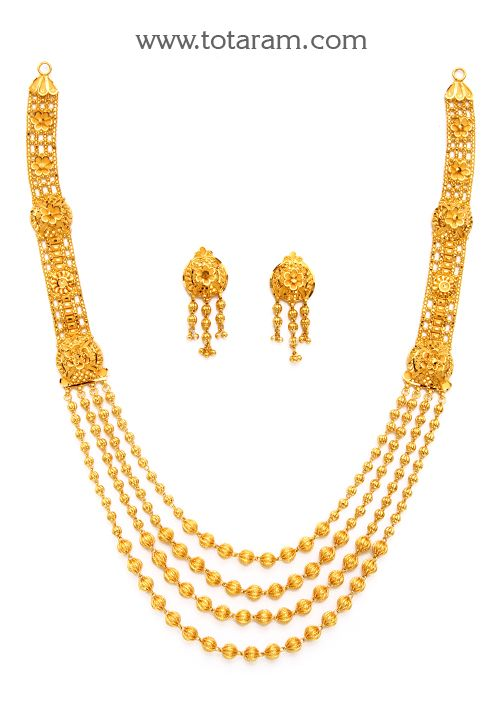 05261be33d 22K Gold '4 Lines' Long Necklace & Earrings set | Jewellery in 2019 ...