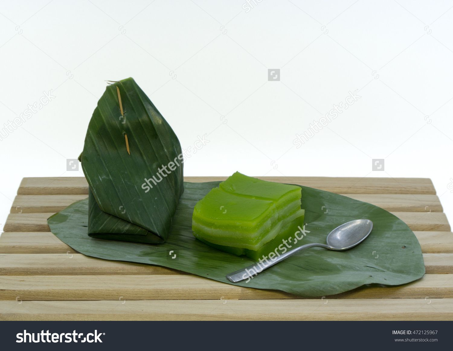 Traditional Thai Dessert Wrapped In Banana Leave Stock Photo 472125967…