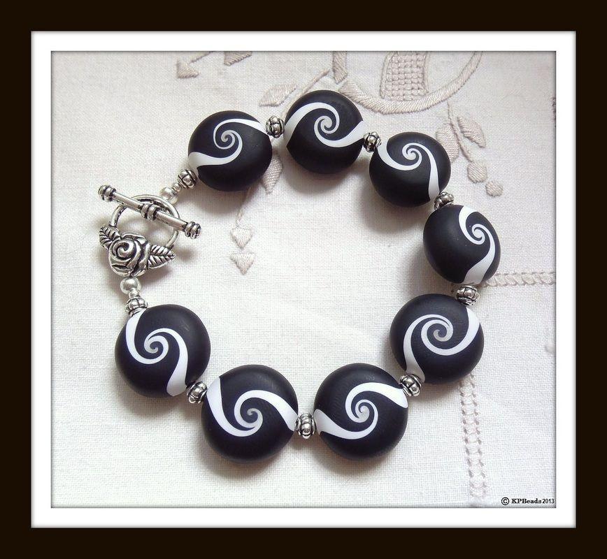 kpbeads black and white koru swirl bracelet