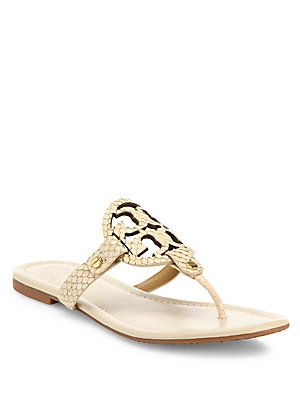 dcac87a61c15 Tory Burch Miller Snake-Embossed Leather Thong Sandals