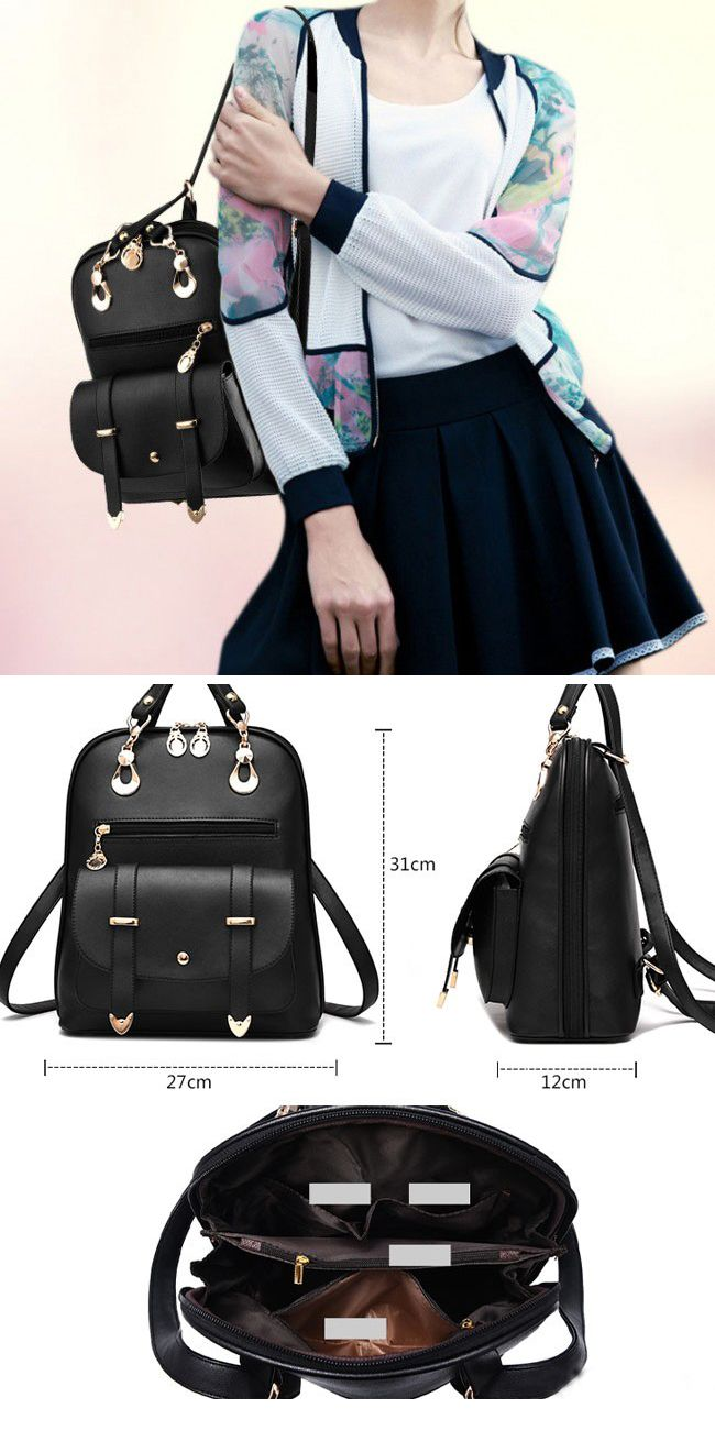 761f6791a2f 2017 New Style Fashion Women Backpack Pu Leather School Bags for Girls with  Purse and Bear