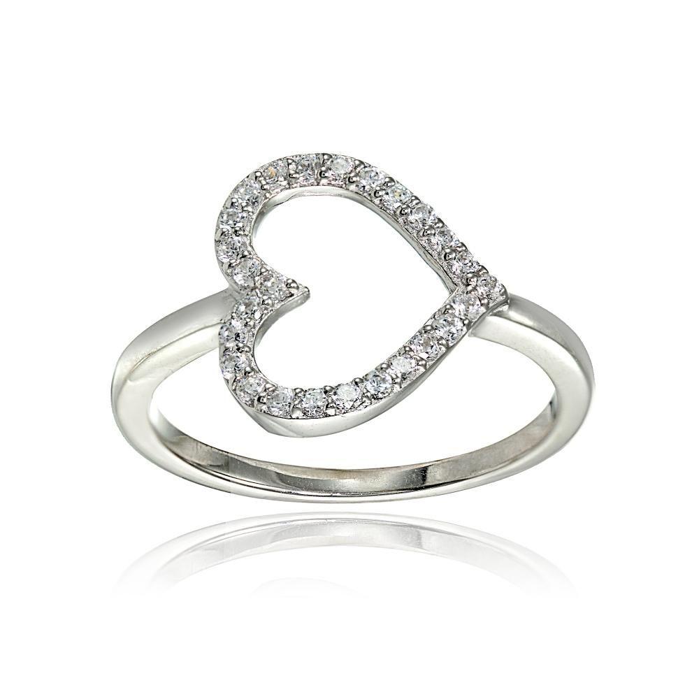 Sterling Silver Cubic Zirconia Sideway Heart Ring In 2020