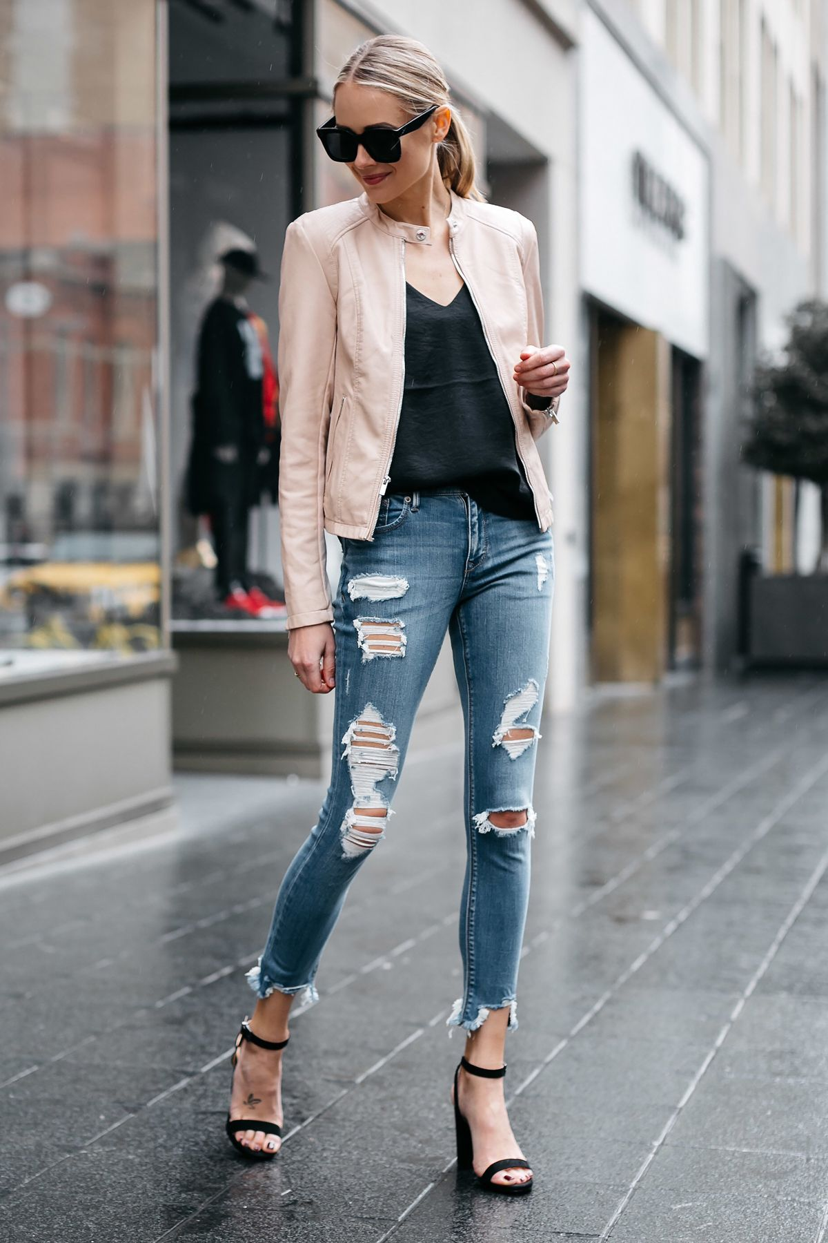 98e5c89a0f Blonde Woman Wearing Express Blush Leather Jacket Denim Ripped Skinny Jeans  Black Ankle Strap Heeled Sandals Fashion Jackson Dallas Blogger Fashion  Blogger ...