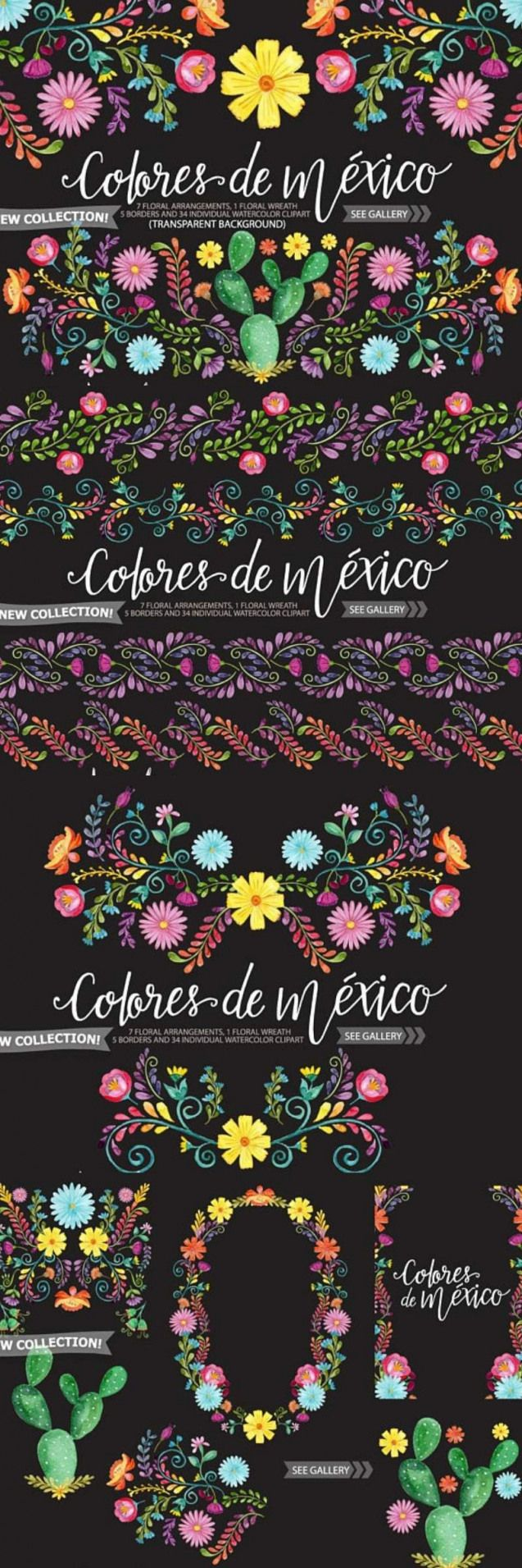 Mexican Watercolor Floral clipart. Ad #graphicdesign #flowers #floral #cincodemayo #cinco #de #mayo #clipart